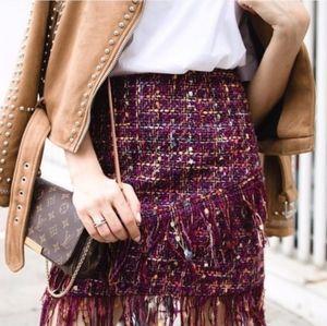 NWT Zara Tweed Fringe Mini Skirt